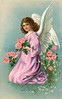 Angel gathering flowers on Eastertide - a circa 1909 Victorian illustration