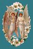 Two angels surrounded by a garland of Easter lilies - a Victorian greeting card illustration, circa 1907