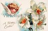 Easter lilies and an angelic cherub - a vintage greeting card illustration, circa 1910