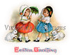 Two little girls in Easter bonnets with their bunnies on leash - a vintage greeting card illustration, circa 1900