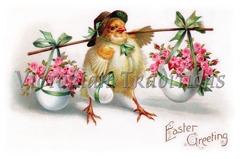 """Chick with bonnet and floral Easter egg baskets - A vintage Easter greeting card illustration, circa 1910. (To purchase prints or downloads, click on the """"Buy"""" or shopping cart button above the image; then choose """"This Photo"""", followed by clicking on the 'Prints', 'Merchandise', or 'Downloads' tab.)"""