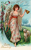 Eastertide Angel leading the sheep - an Easter greeting card illustration, circa 1910
