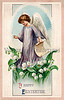 """A Vintage Easter Greeting Card Illustration with angel and flowers, circa 1909. (To purchase prints or downloads, click on the """"Buy"""" or shopping cart button above the image; then choose """"This Photo"""", followed by clicking on the 'Prints', 'Merchandise', or 'Downloads' tab.)"""