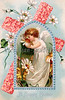 Eastertide angel with symbols of Christianity - an Easter greeting card illustration, circa 1910