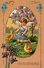 """Eastertide angel gathering eggs, surrounded by chicks - a Victorian style Easter greeting card illustration, circa 1911. (To purchase prints or downloads, click on the """"Buy"""" or shopping cart button above the image; then choose """"This Photo"""", followed by clicking on the 'Prints', 'Merchandise', or 'Downloads' tab.)"""