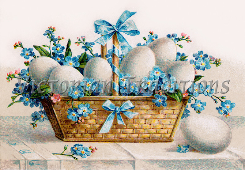 An Easter basket of flowers, eggs and ribbons - a vintage illustration, circa 1910