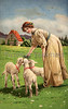 Woman feeding lambs on Easter - A Victorian illustration, circa 1913