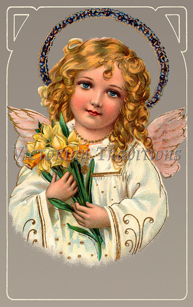 "Little angel holding Easter daffodils - a vintage greeting card illustration, circa 1910. (To purchase prints or downloads, click on the ""Buy"" or shopping cart button above the image; then choose ""This Photo"", followed by clicking on the 'Prints', 'Merchandise', or 'Downloads' tab.)  NOTE: the largest available download for this image is currently only 1 megapixel (low-resolution or 3 megabytes)."