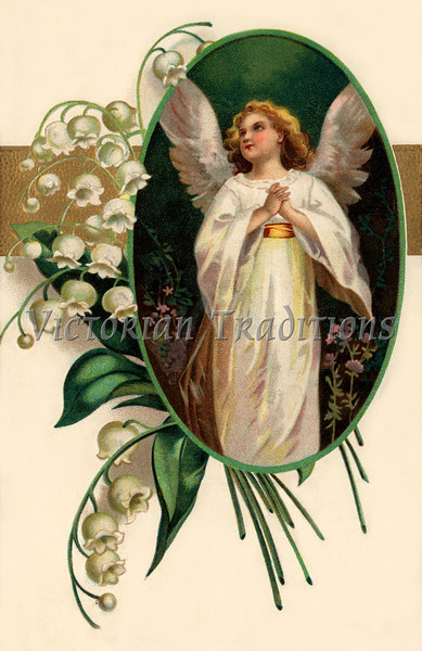 "Easter angel surrounded by Lily of the Valley flowers - a Victorian greeting card illustration, circa 1909. (To purchase prints or downloads, click on the ""Buy"" or shopping cart button above the image; then choose ""This Photo"", followed by clicking on the 'Prints', 'Merchandise', or 'Downloads' tab.)"