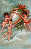 Three cherubs carrying an Easter egg above the clouds - a Victorian Illustration, circa 1910 - a Victorian Illustration, circa 1910
