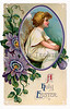 Easter flowers and an angelic cherub - a vintage greeting card illustration, circa 1910