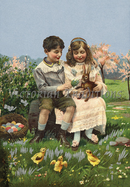 Children playing with Easter bunny - a Victorian style illustration, circa 1912
