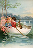 Childhood affection in an egg shell boat - a Victorian Easter Illustration, circa 1910