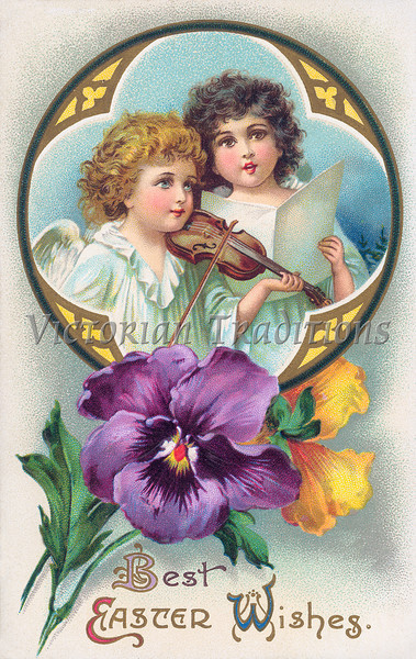 Angels making Easter music - a Victorian Easter Greeting Illustration, circa 1910