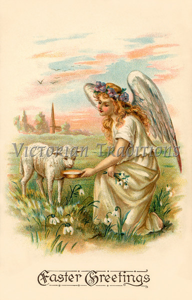 Eastertide angel feeding a lamb - an Easter greeting card illustration, circa 1908