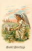Eastertide angel feeding a lamb - an Easter greeting card illustration, circa 1908