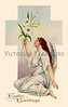 """Angel holding lilies - a circa 1910 Easter greeting card illustration. (To purchase prints or downloads, click on the """"Buy"""" or shopping cart button above the image; then choose """"This Photo"""", followed by clicking on the 'Prints', 'Merchandise', or 'Downloads' tab.)"""