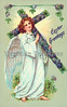 Angel carrying an Easter cross - a Vintage greeting card, Illustration, circa 1910