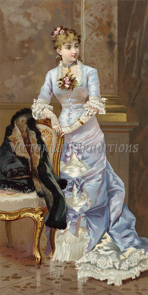 A beautiful woman in a long, lacy, Victorian style dress - a vintage illustration, circa 1870