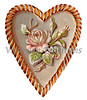 Vntage Valentine illustration of a sculptured heart and rose - circa 1890