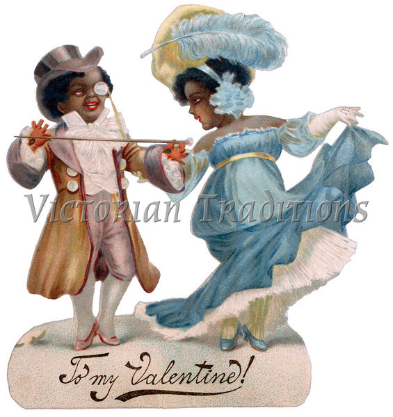 Vintage Valentine illustration of a black, African-american couple - circa 1890