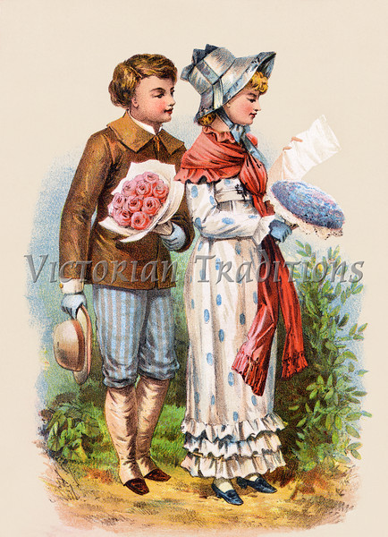 A romantic couple courting, exchanging flowers and letters - an 1886 Victorian style illustration