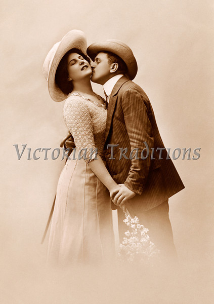 Victorian romance - a couple in love - circa 1915 photograph