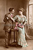 Victorian romance - couple in love - circa 1915 hand-tinted photograph