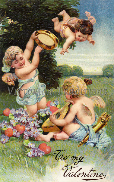 "A circa 1906 Victorian Valentine greeting illustration, ""To My Valentine', with cupids, hearts, flowers and musical instruments"