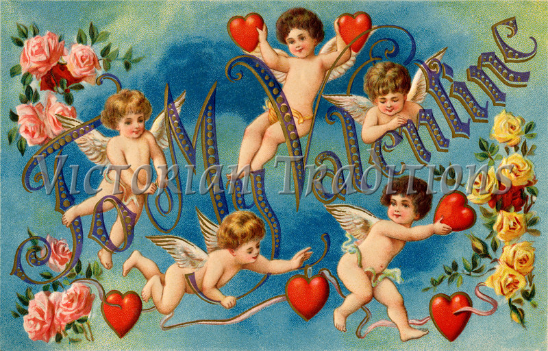 A 1911 vintage Valentine greeting with cupids, roses and hearts - 'To My Valentine'