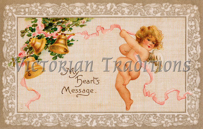 Vintage Valentine Art - 'My Heart's Message' - showing a cupid ringing golden bells, circa 1910