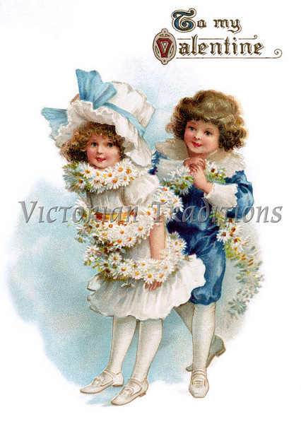 Boy wrapping a flower garland around his young girl friend - a circa 1890 Victorian greeting card illustration - 18th Century clothing styles