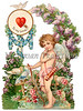 Vintage Valentine illustration of a cupid encircled with flowers - circa 1890