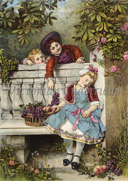 A boy flirts over the garden fence with a sleepy girl as his younger sibling looks on - a Victorian style illustration, circa 1850