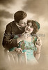 Victorian romance - couple in love - circa 1913 hand-tinted photograph