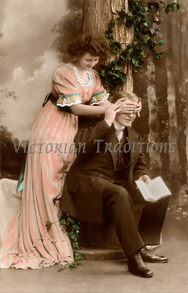 Victorian romance - couple in love - circa 1912 hand-tinted photograph