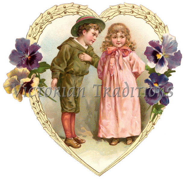 Vintage Valentine illustration of a boy greeting a young girl - circa 1890