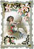 A romantic, Victorian greeting card illustration of a woman in a lacy dress, swinging on a swing, surrounded by a floral frame, circa 1880