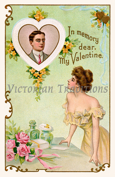 Lovers dreaming of each other - vintage art from a 1910 Valentine greeting, 'In memory dear, My Valentine'