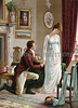 Man on bended knee proposing marriage to a woman - a Victorian style illustration, circa 1830