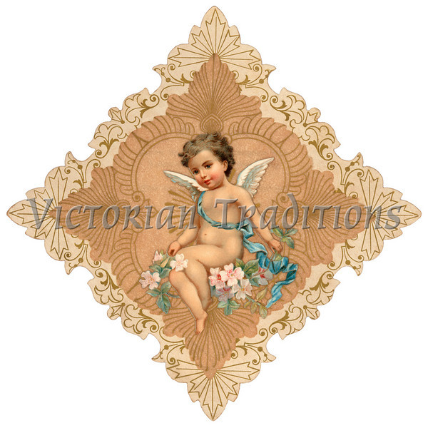 Intricate, vintage Valentine greeting illustration with cupid