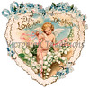 Vintage Valentine illustration of a lacy heart and cupid - circa 1890