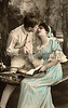 Victorian romance - couple in love on swing - circa 1916 hand-tinted photograph