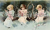 Three cute, little, girl friends in a woodland setting holding garlands of Spring flowers - a Victorian illustration, circa 1890