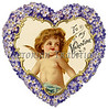 Delicate, die-cut, Victorian Valentine illustration with angel surrounded by a heart-shaped flower wreath, circa 1890