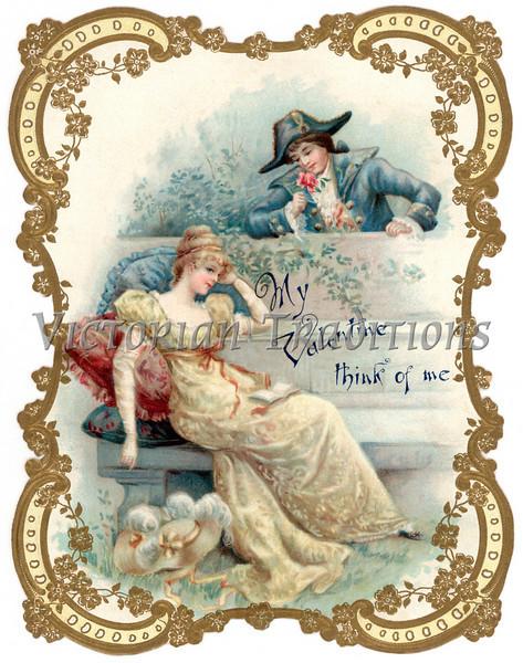 Vintage die-cut Valentine card illustration depicting 18th Century romance