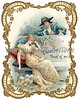 Vintage die-cut Valentine card illustration depicting 18th Century romance