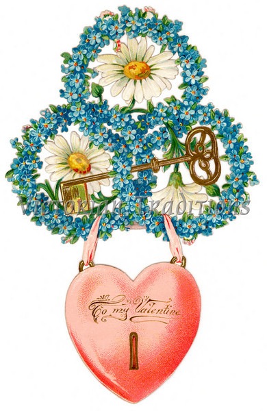 Vntage Valentine illustration with a key-to-my-heart concept - circa 1890