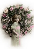 Victorian greeting - a little girl and floral wreath - a circa 1914 hand-tinted photograph