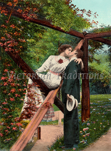 Victorian romance - couple in love - circa 1911 hand-tinted photograph
